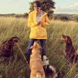 Illustrator Nicky and her dogs